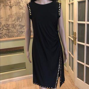 Black studded sheath side slit ruched dress, M NWT